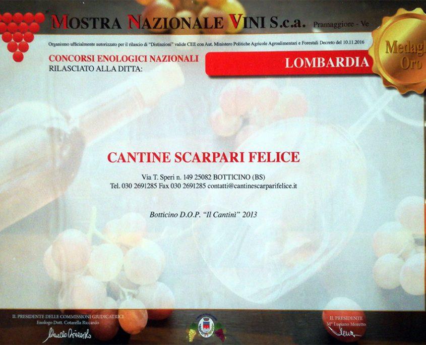 Medaglia d'Oro 2016 alla Mostra Nazionale dei Vini di Pramaggiore per il Botticino Il Cantinì 2013